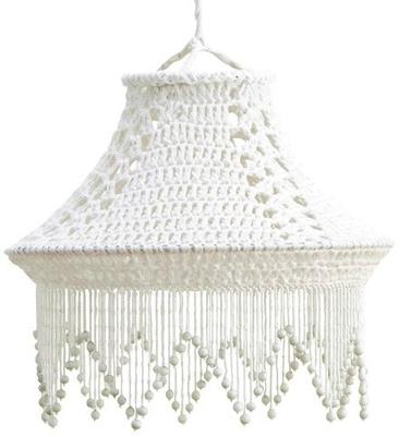 Crocheted Hand-Made Cotton Lampshade - Black or White image 2