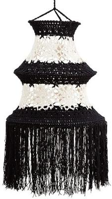 Tall Crocheted Cotton Lampshade - Black or White image 2