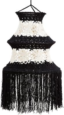 Tall Crocheted Cotton Lampshade - Black or White image 3