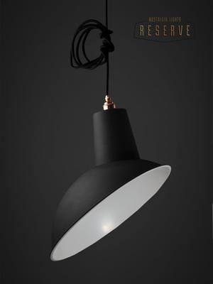 NL Reserve Industrial Angled Cloche Lamp Shade Matte Black