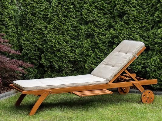 CESANA Wooden Sun Lounger with Wheels image 2