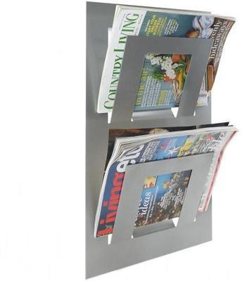 Double Tier Wall Mounted Metal Magazine Rack - Metallic Silver
