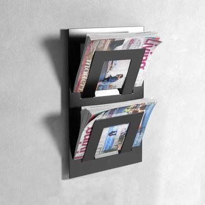 Double Tier Wall Mounted Metal Magazine Rack - Black