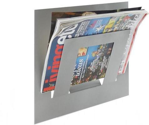 Single Tier Wall Mounted Metal Magazine Rack - Metallic Silver