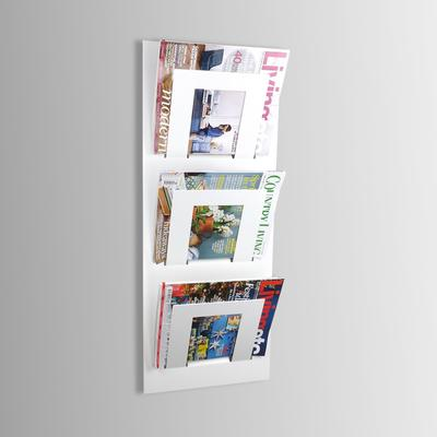 Triple Tier Wall Mounted Metal Magazine Rack - White
