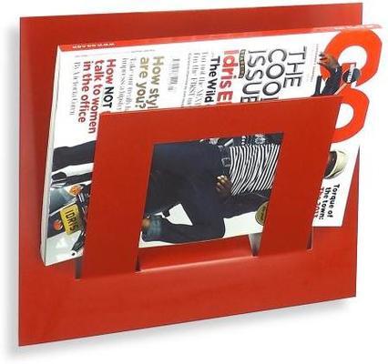 Single Tier Wall Mounted Metal Magazine Rack - Red