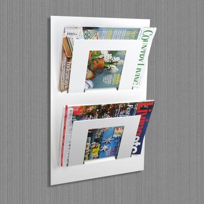 Double Tier Wall Mounted Metal Magazine Rack - White