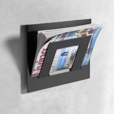 Single Tier Wall Mounted Metal Magazine Rack - Black