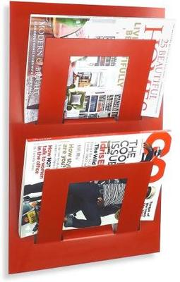Double Tier Wall Mounted Metal Magazine Rack - Red