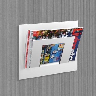 Single Tier Wall Mounted Metal Magazine Rack - White