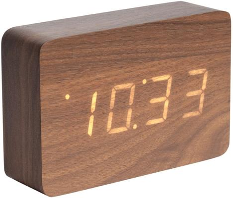 Karlsson Square LED Alarm Clock - Dark Wood