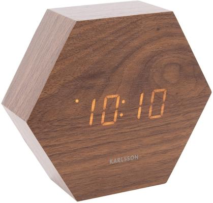 Karlsson Hexagon LED Alarm Clock - Dark Wood