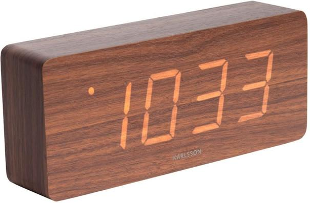 Karlsson Tube LED Alarm Clock - Dark Wood