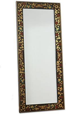 Shanxi Painted Dressing Mirror, Black Lacquer