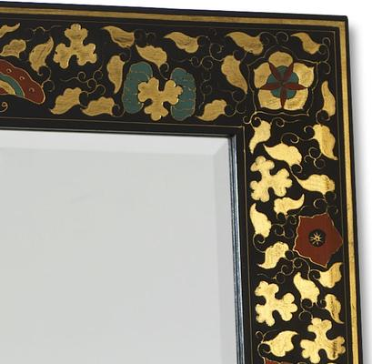 Shanxi Painted Dressing Mirror, Black Lacquer image 2