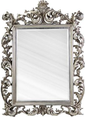 Large Silver Rococo Mirror French Aged