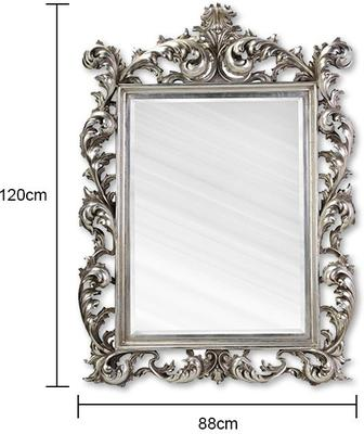 Large Silver Rococo Mirror French Aged image 2