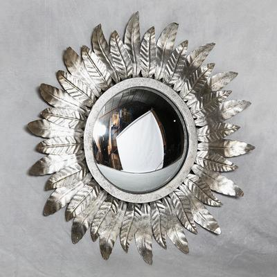 Round Gold Leaf Metal Sun Mirror