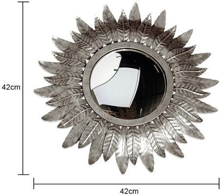 Round Gold Leaf Metal Sun Mirror image 2
