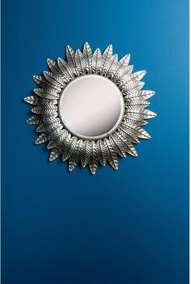 Round Gold Leaf Metal Sun Mirror image 3
