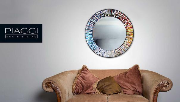 Roulette PIAGGI multicolour glass mosaic round mirror image 3