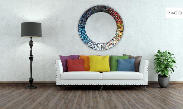 Roulette PIAGGI multicolour glass mosaic round mirror image 4