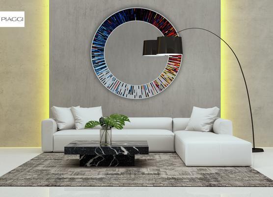 Roulette PIAGGI multicolour glass mosaic round mirror image 5