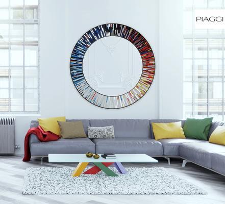 Roulette PIAGGI multicolour glass mosaic round mirror image 12