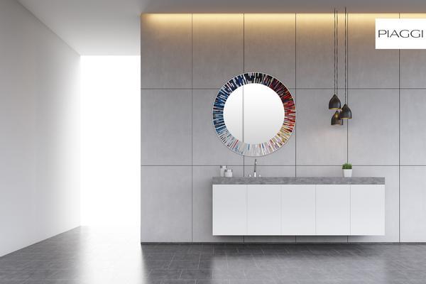 Roulette PIAGGI multicolour glass mosaic round mirror image 7