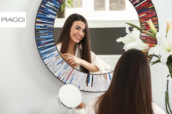 Roulette PIAGGI multicolour glass mosaic round mirror image 14