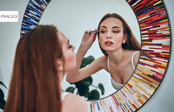 Roulette PIAGGI multicolour glass mosaic round mirror image 15