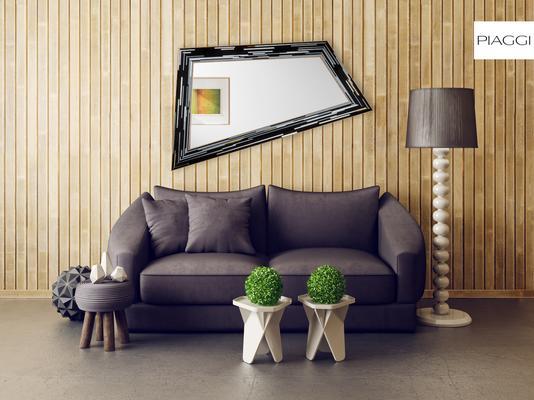 Rhombus black PIAGGI glass mosaic mirror image 12