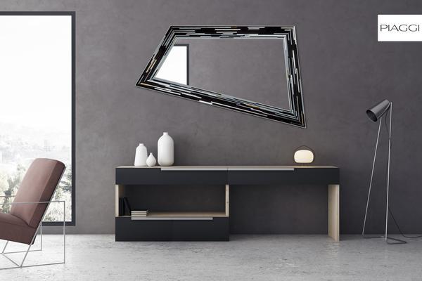 Rhombus black PIAGGI glass mosaic mirror image 13