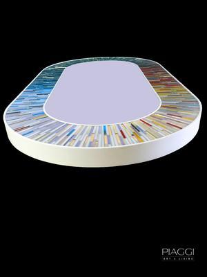 Stadium multicolour PIAGGI glass mosaic mirror image 13