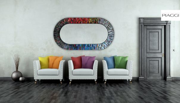 Stadium multicolour PIAGGI glass mosaic mirror image 14