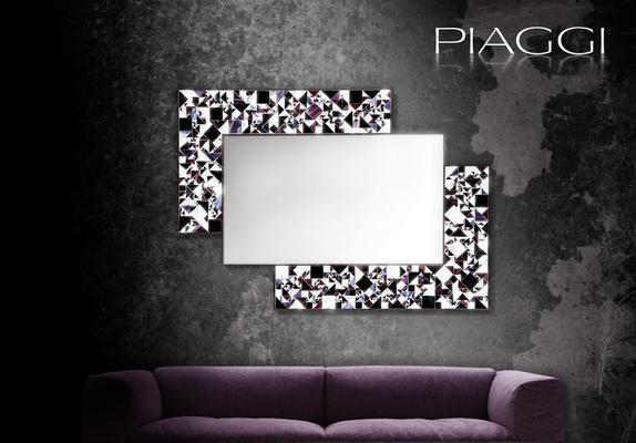 Kaleidoscope violet PIAGGI glass mosaic mirror image 2