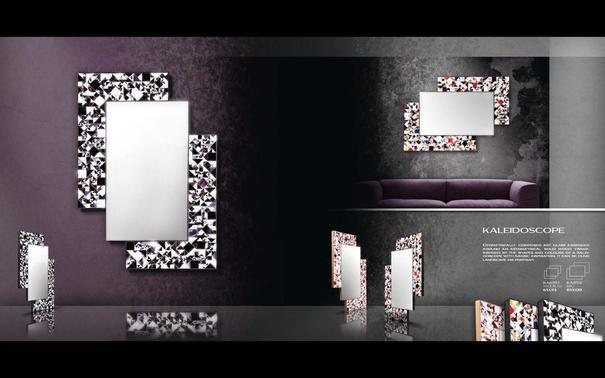 Kaleidoscope violet PIAGGI glass mosaic mirror image 6