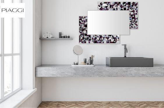 Kaleidoscope PIAGGI violet glass mosaic mirror image 12