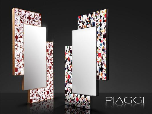 Kaleidoscope multicolour PIAGGI glass mosaic mirror image 4