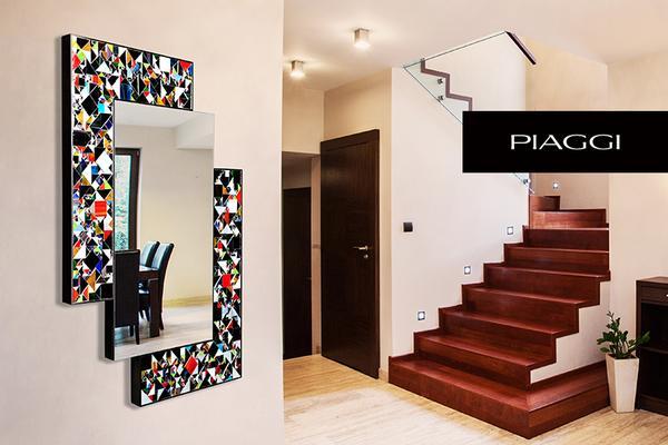 Kaleidoscope multicolour PIAGGI glass mosaic mirror