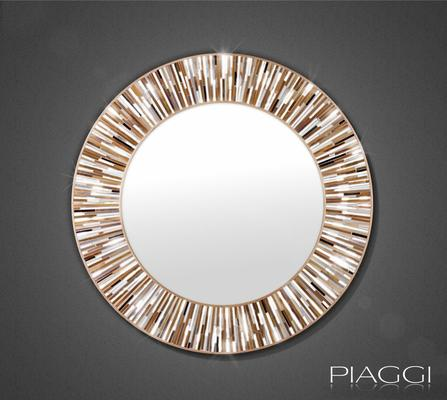 Roulette PIAGGI beige glass mosaic round mirror