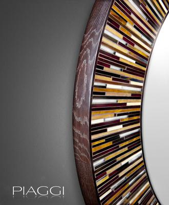 Roulette PIAGGI beige glass mosaic round mirror image 10