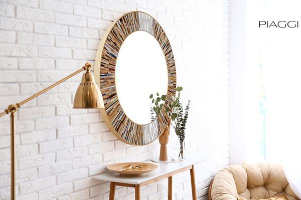 Roulette PIAGGI beige glass mosaic round mirror image 16