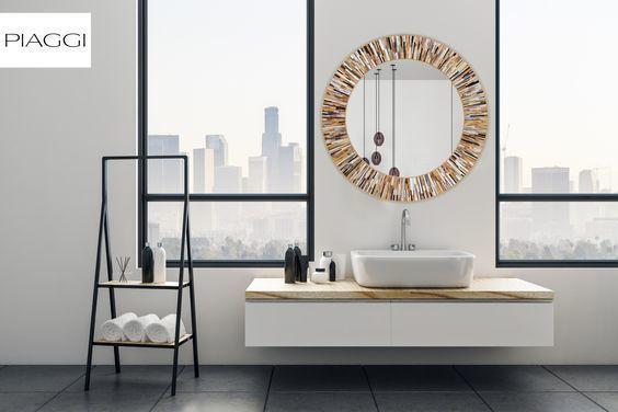 Roulette PIAGGI beige glass mosaic round mirror image 17
