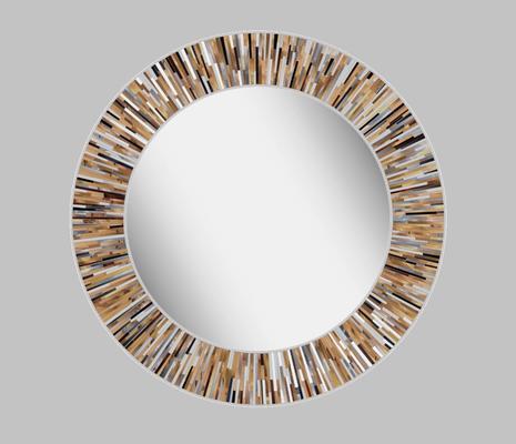 Roulette PIAGGI beige glass mosaic round mirror image 18