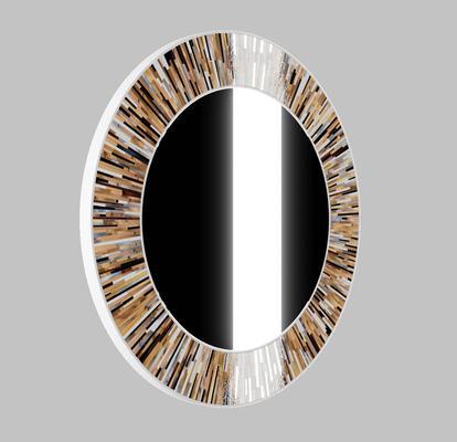Roulette PIAGGI beige glass mosaic round mirror image 19