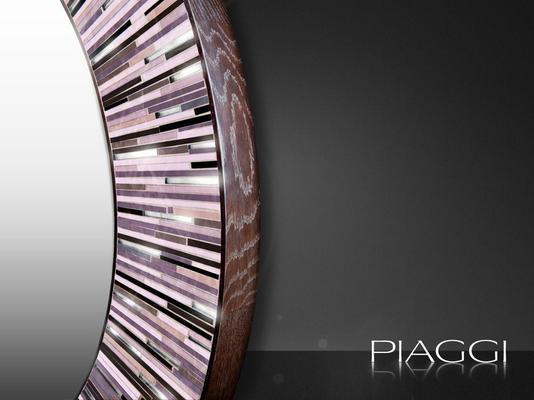 Roulette PIAGGI pink glass mosaic round mirror image 3
