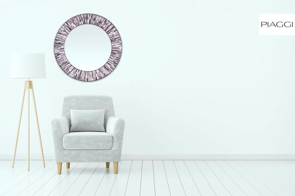 Roulette PIAGGI pink glass mosaic round mirror image 6