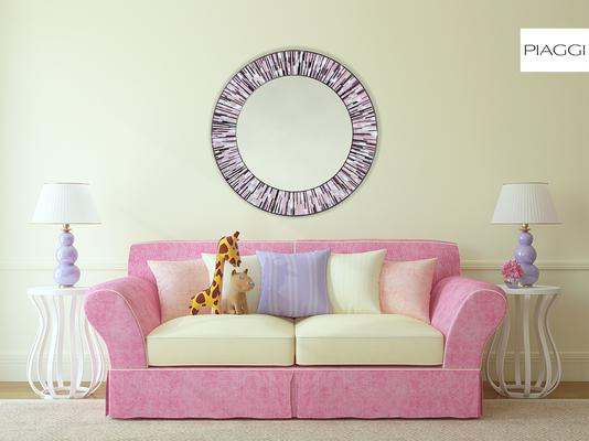 Roulette PIAGGI pink glass mosaic round mirror image 7