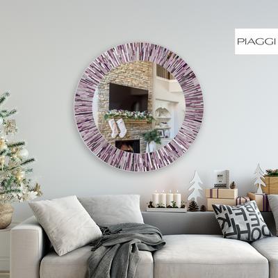 Roulette PIAGGI pink glass mosaic round mirror image 12